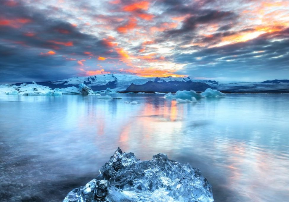 stunning sunset over water and ice
