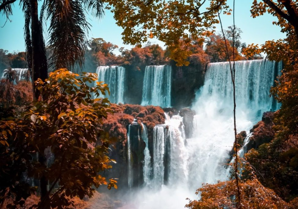 majestic waterfall with reddish trees