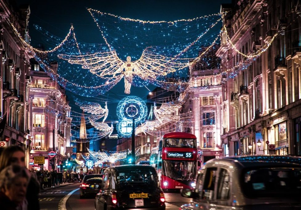 christmas lights and buses, england