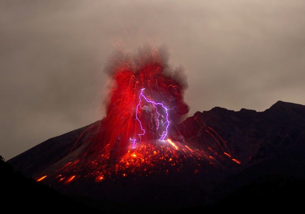 volcano and lightning image from unsplash dot com